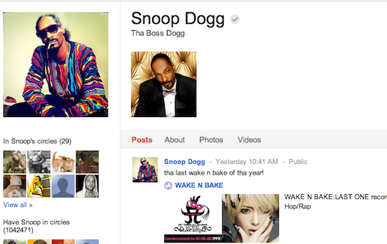Snoop Dogg has over million+ followers on Google+