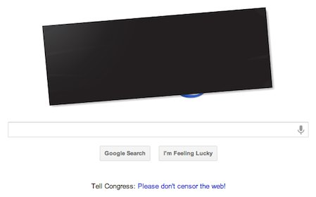 Google home page protesting #SOPA