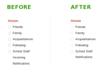 Google+ incoming stream gone, before and after view of the left panel