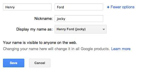 Adding nickname to your Google+ name / profile