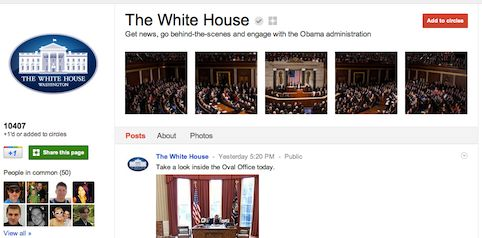 White House page on Google+
