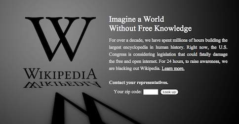 Wikipedia english protesting #SOPA