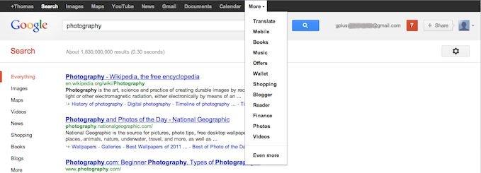 New Google+ black bar replacing Google+ menu