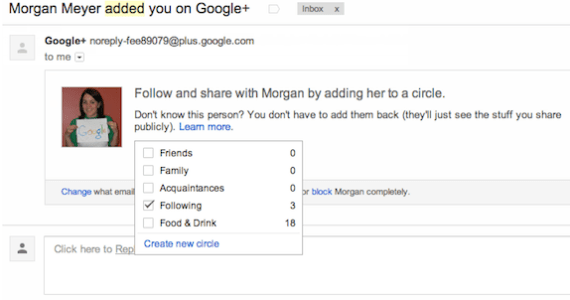 Adding to circle right within notification email in Gmail