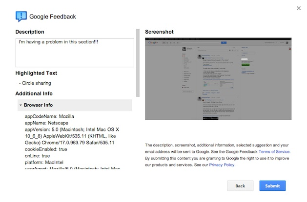 Google+ feedback screenshot preview