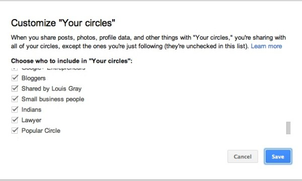 Customizing circles to include / exclude in Your Circles
