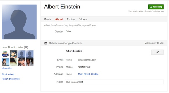 Google Contacts Gets Google+ Integration : View Your Contacts Phone, Email, Address, Etc., Details While Viewing His/her Google+ Profile