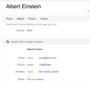 Google contacts appear in Google+ profile