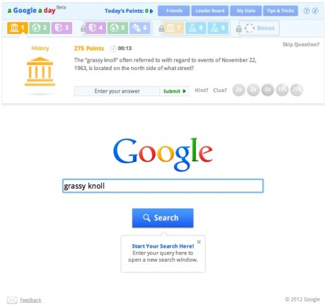 Sample question on a google a day trivia game
