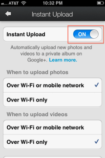 3. Note Instant upload Toggle is turned on