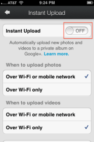 4. Turn off the Instant Upload toggle button