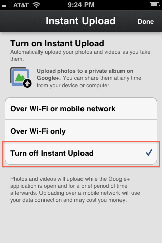 5. Touch on the Turn off Instant Upload option and this feature will be disabled