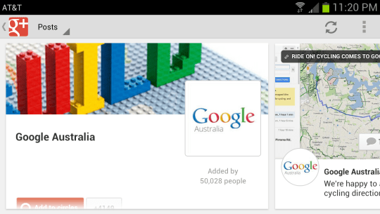 Landscape mode listing of all posts stream in google+ android app