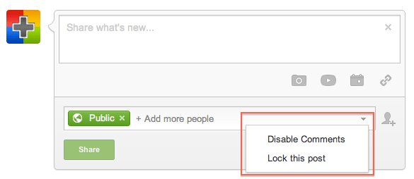 Lock Post, Disable Comments and Notify by Email While Sharing a New Post : New Google+ Share Box Changes
