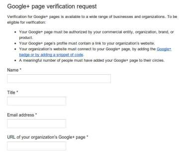 verified profile google+ page request form