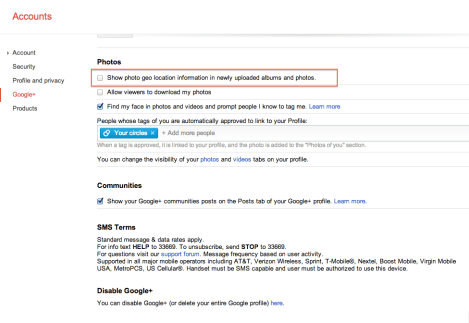 Google+ setting to show / hide geo location information