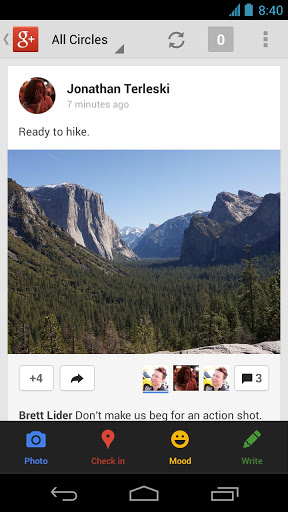 android 3.6 and iphone 4.3 google+ app