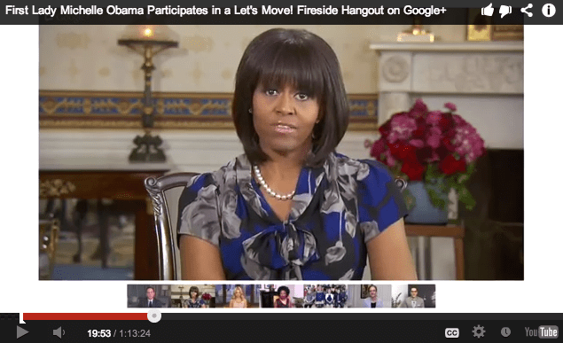 Recorded Video of Michelle Obama Google+ Fireside Hangout