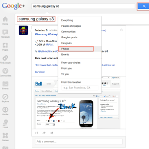 google+ search filter photos