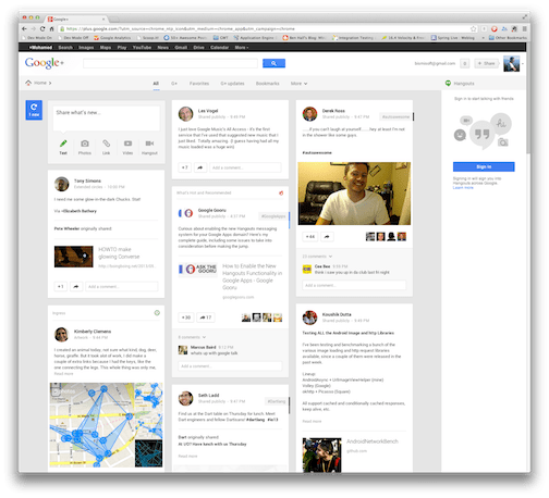 New google+ layout released