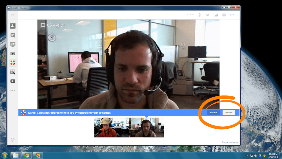 Hangouts Remote Desktop App Helps to Provide Face to Face Technical Support!