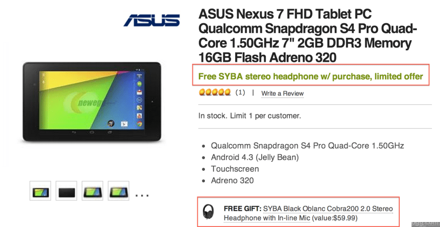 """Nexus 7"""" FHD Tablet Deal with FREE Headset/Mic & FREE Shipping + No Tax in most US States"""