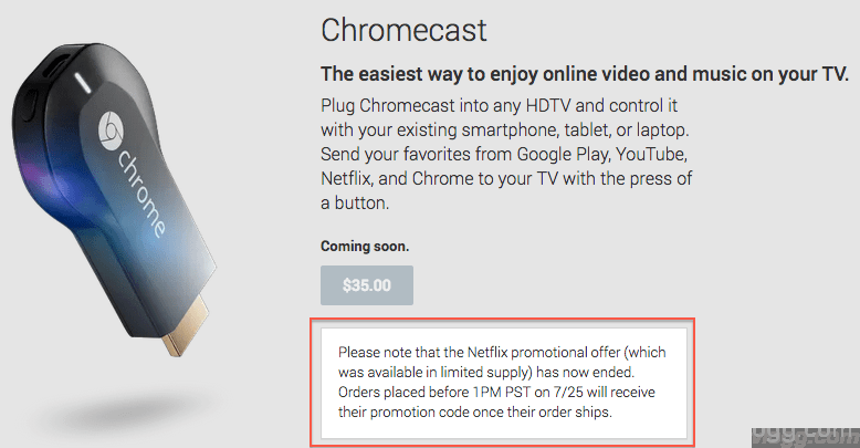 Google Chromecast Netflix 3 Months Promotional Offer Has Ended