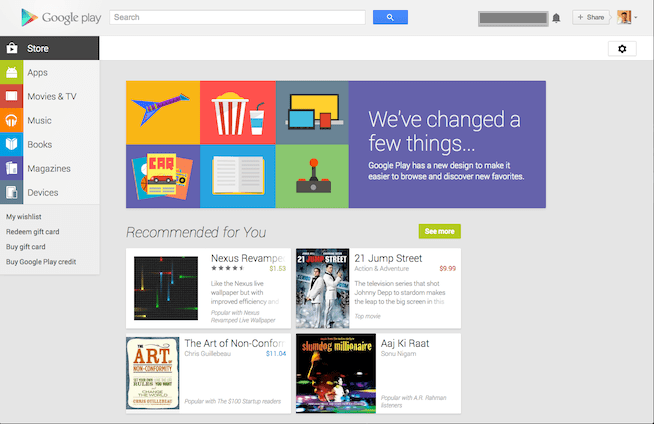 Newly Designed Google Play Store Released!
