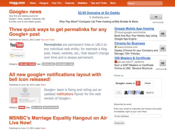 vlogg.com new site for google+ news
