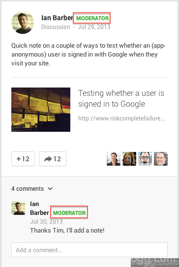 Google+ Communities Comment Moderator Label
