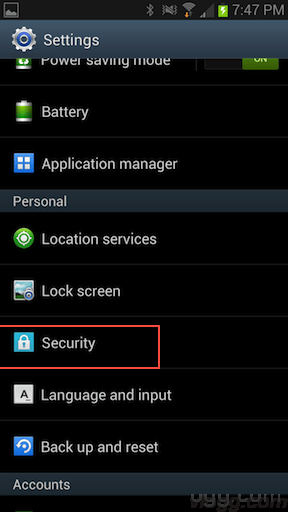 Settings->Security