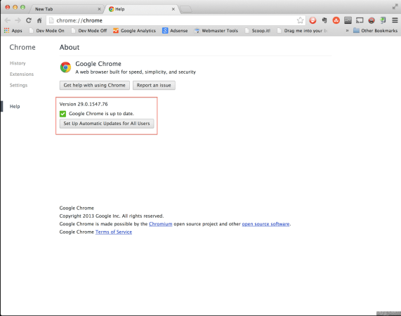 Google Chrome Version 29.0.1547.76