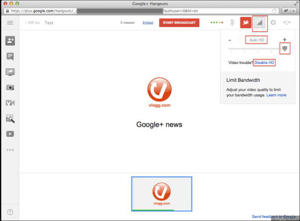 Google+ Hangouts on Air in HD (High Definition)