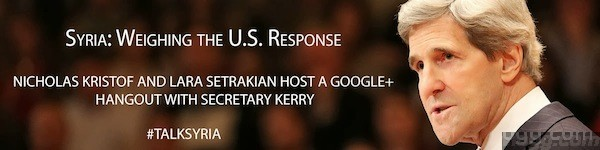 Google+ Hangout with U.S. Secretary of State John Kerry talking about U.S response to Syrian Chemical Attack
