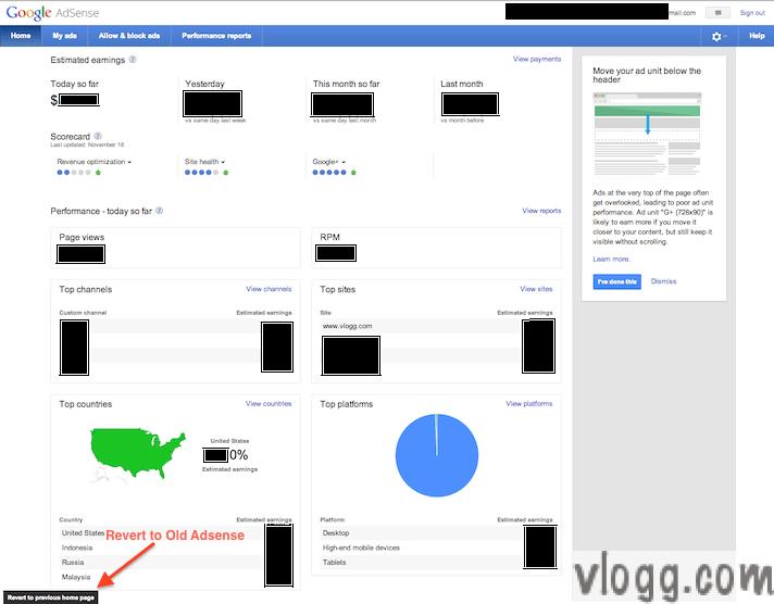 Google Adsense Home Page Tab New Look