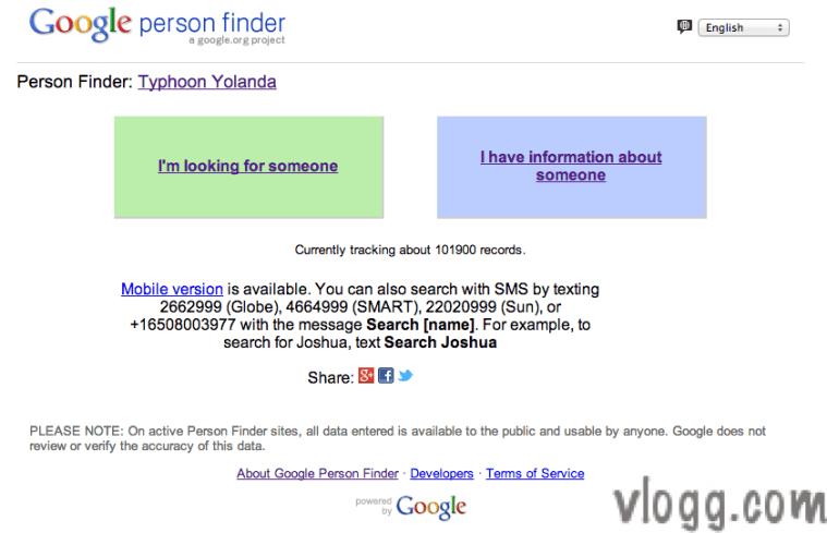 Philippines Typhoon Yolanda Person Finder Google Service