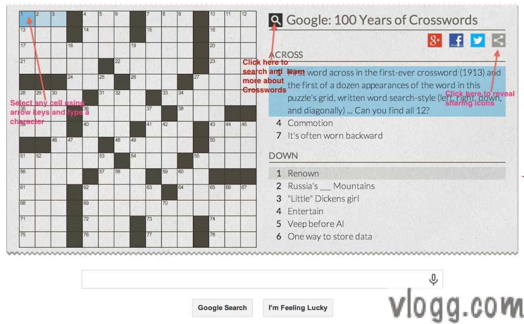 Crossword Puzzle Game Google Doodle Today Honoring 100th Year Anniversary