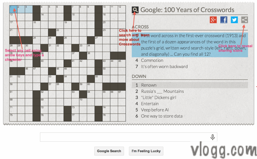 Crossword Puzzle Game, Share and Search options in Google homepage [images:  vlogg.com]
