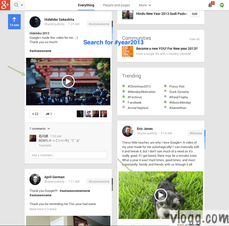 Google+ Gift 'Year in Review' AutoAwesome Videos Search using #year2013 [Images: vlogg.com]