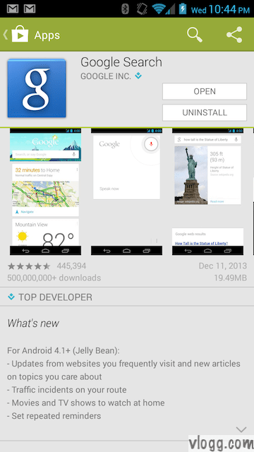 Google Search 3.1.24.941712 for Android Released [Images: vlogg.com]
