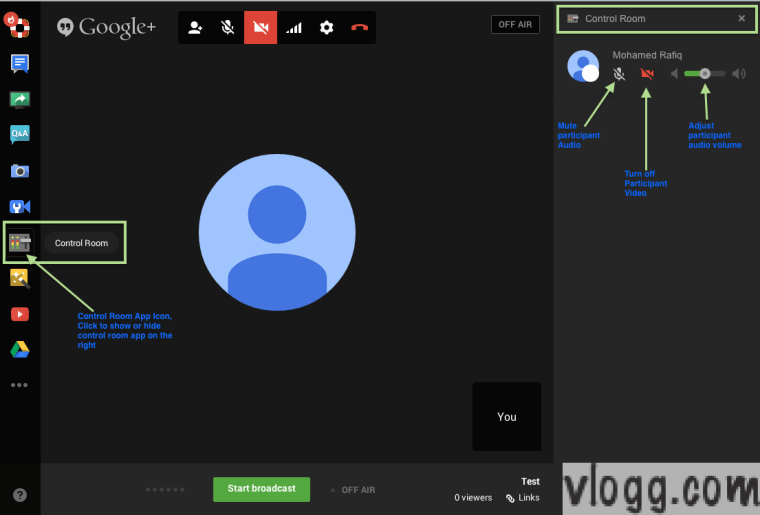 Google+ Hangouts on Air Control Room App : Control Audio, Video or Volume of your Hangout Participants [images: vlogg.com]