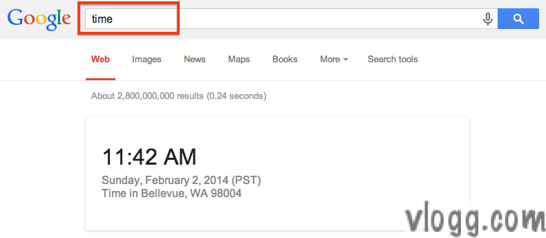 Quickly find current local time in Google Search