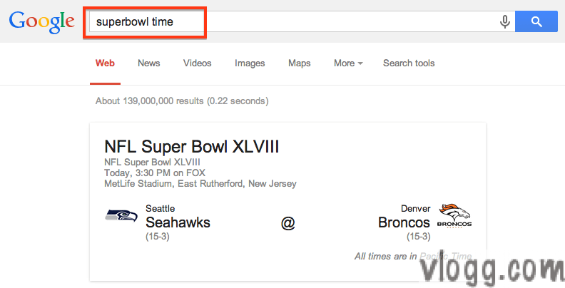 What time does NFL SuperBowl XLVIII Starts? Find event times through Google