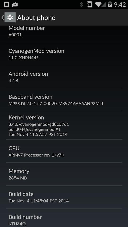 OnePlus One KTU85Q-11.0-XNPH44S