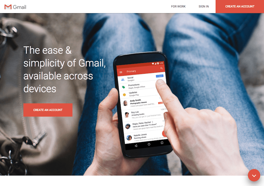 Google Testing Material Design Gmail Landing Page