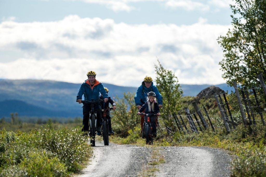 Family cycling on mt.bikes allong a trail on Dovre using a guide