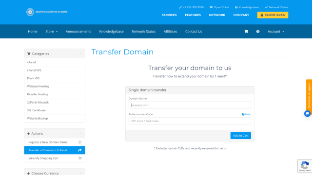 domain transfer to 2cPanel