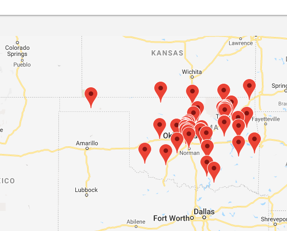 Map of institutions in Oklahoma