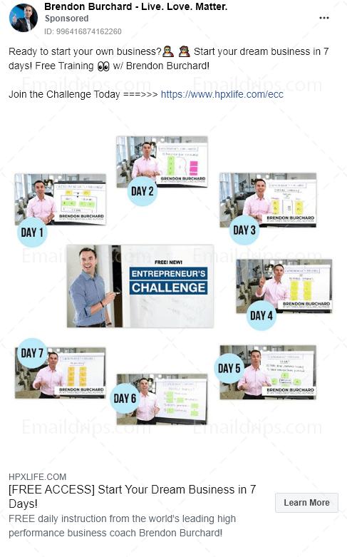 Brendon Burchard - Challenge - 7days entrepreneurs challenge - Facebook Ad