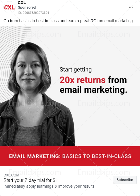 CXL – Course – Email marketing – Facebook Ad